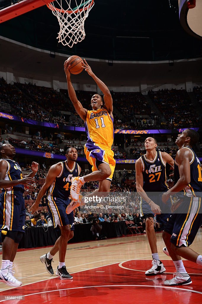 <a gi-track='captionPersonalityLinkClicked' href=/galleries/search?phrase=Wesley+Johnson+-+Basketball+Player&family=editorial&specificpeople=4184049 ng-click='$event.stopPropagation()'>Wesley Johnson</a> #11 of the Los Angeles Lakers attempts a shot during a preseason game against the Utah Jazz at the Honda Center in Anaheim, California on October 25, 2013.
