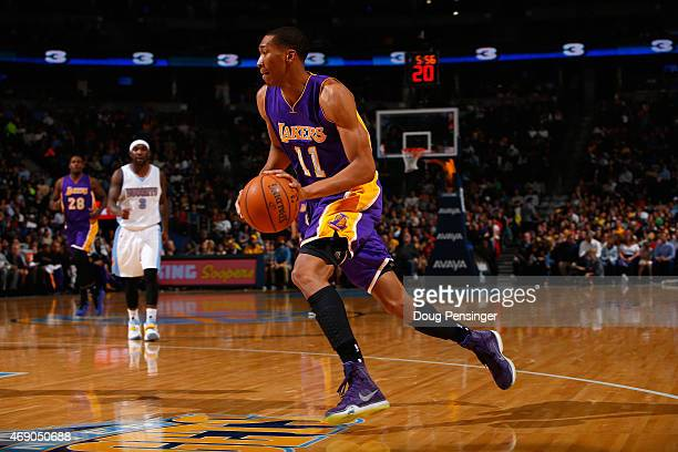 Wesley Johnson of the Los Angeles Lakers controls the ball against the Denver Nuggets at Pepsi Center on April 8 2015 in Denver Colorado The Nuggets...