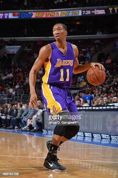 Wesley Johnson of the Los Angeles Lakers dribbles the ball against the Philadelphia 76ers at Wells Fargo Center on March 30 2015 in Philadelphia...