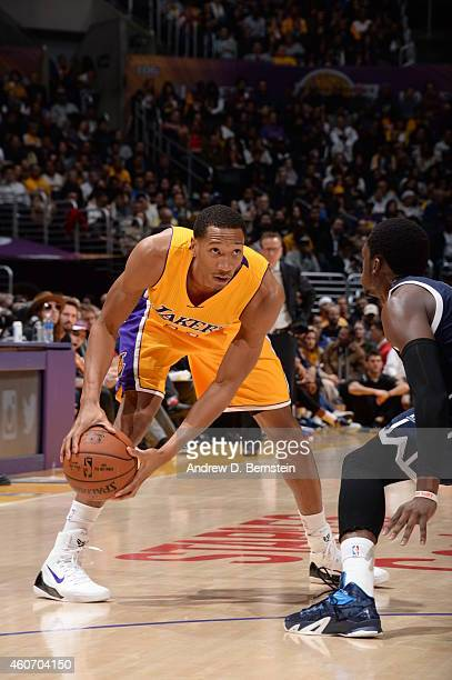 Wesley Johnson of the Los Angeles Lakers handles the ball against the Oklahoma City Thunder on December 19 2014 at STAPLES Center in Los Angeles...