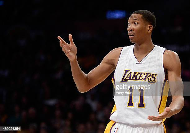 Wesley Johnson of the Los Angeles Lakers reacts to a call during the game against the Boston Celtics at Staples Center on February 22 2015 in Los...