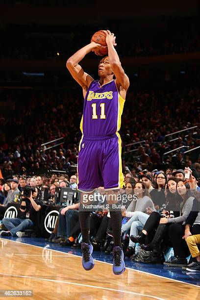 Wesley Johnson of the Los Angeles Lakers shoots against the New York Knicks during the game on February 2 2015 at Madison Square Garden in New York...