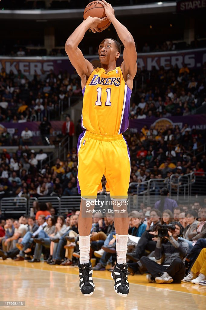 <a gi-track='captionPersonalityLinkClicked' href=/galleries/search?phrase=Wesley+Johnson+-+Basketball+Player&family=editorial&specificpeople=4184049 ng-click='$event.stopPropagation()'>Wesley Johnson</a> #11 of the Los Angeles Lakers takes a shot against the New Orleans Pelicans at Staples Center on March 4, 2014 in Los Angeles, California.