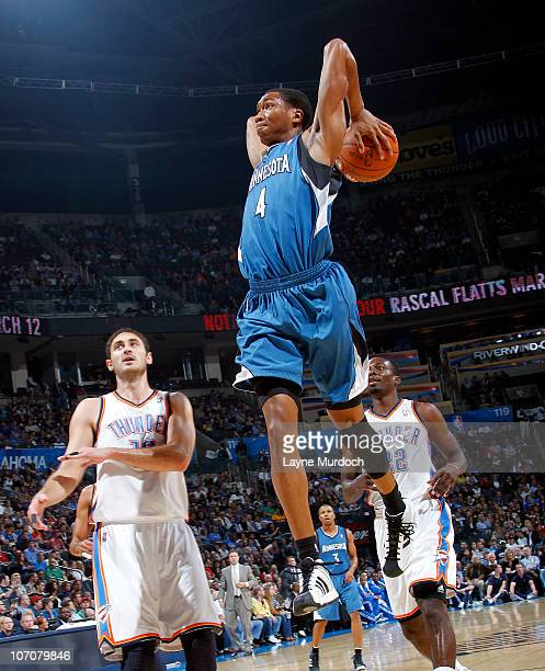 Wesley Johnson of the Minnesota Timberwolves goes for a dunk in front of Nenad Krstic of the Oklahoma City Thunder on November 22 2010 at the Ford...