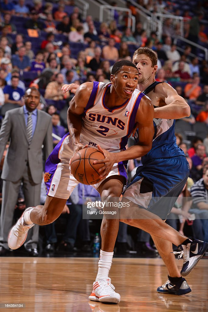 Wesley Johnson #2 of the Phoenix Suns drives against the Minnesota Timberwolves on March 22, 2013 at U.S. Airways Center in Phoenix, Arizona.
