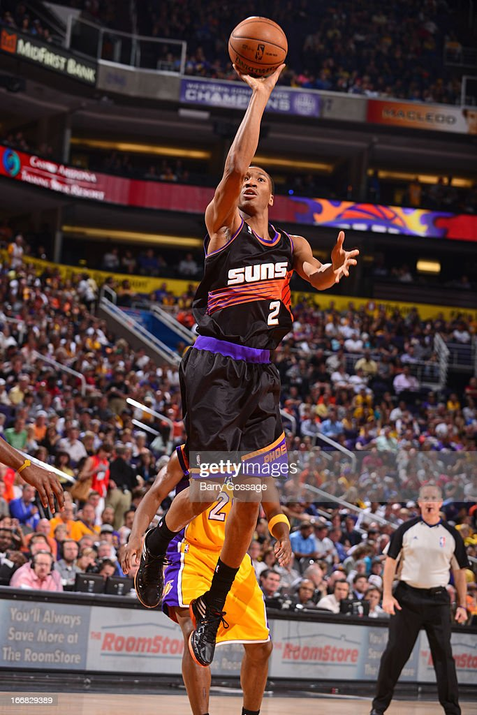 <a gi-track='captionPersonalityLinkClicked' href=/galleries/search?phrase=Wesley+Johnson+-+Basketball+Player&family=editorial&specificpeople=4184049 ng-click='$event.stopPropagation()'>Wesley Johnson</a> #2 of the Phoenix Suns goes up for the easy basket against the Los Angeles Lakers on March 18, 2013 at U.S. Airways Center in Phoenix, Arizona.