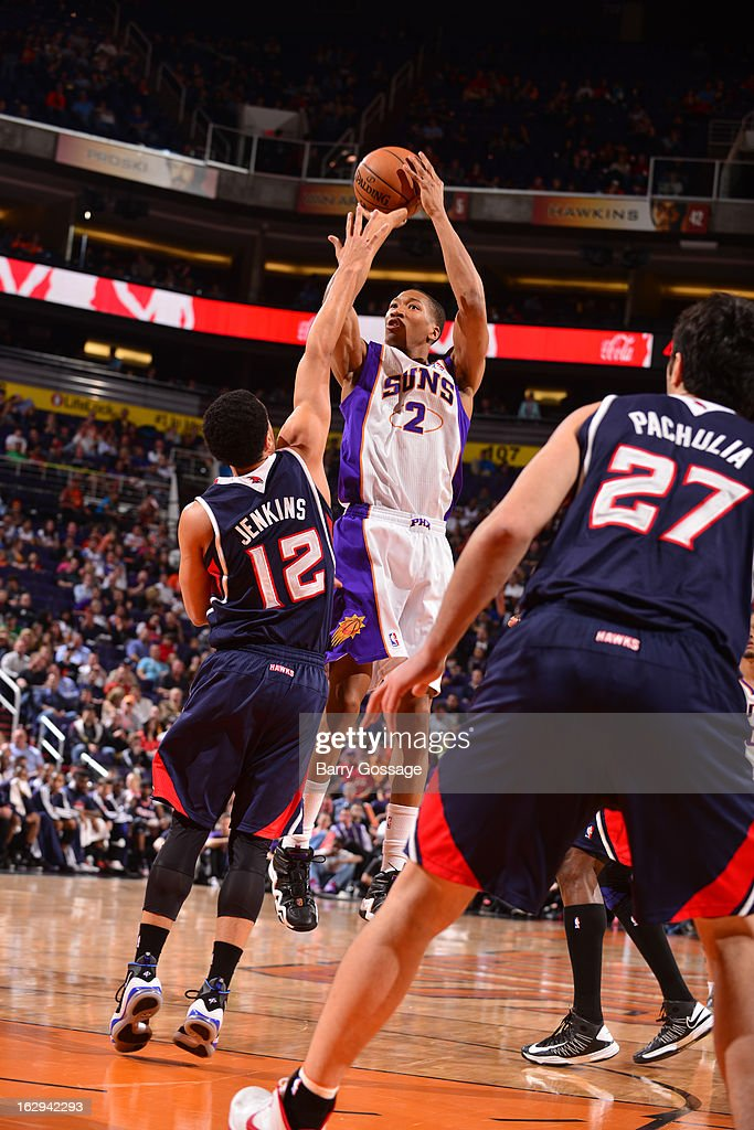Wesley Johnson #2 of the Phoenix Suns shoots against the Atlanta Hawks on March 1, 2013 at U.S. Airways Center in Phoenix, Arizona.