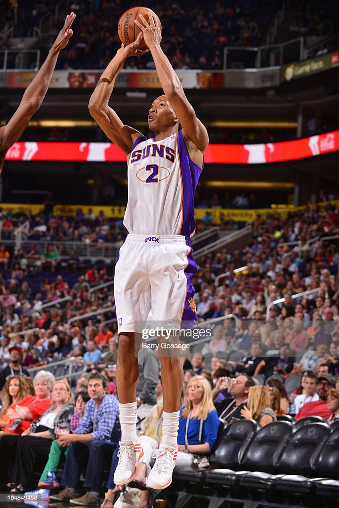 Wesley Johnson #2 of the Phoenix Suns shoots against the Sacramento Kings on March 28, 2013 at U.S. Airways Center in Phoenix, Arizona.