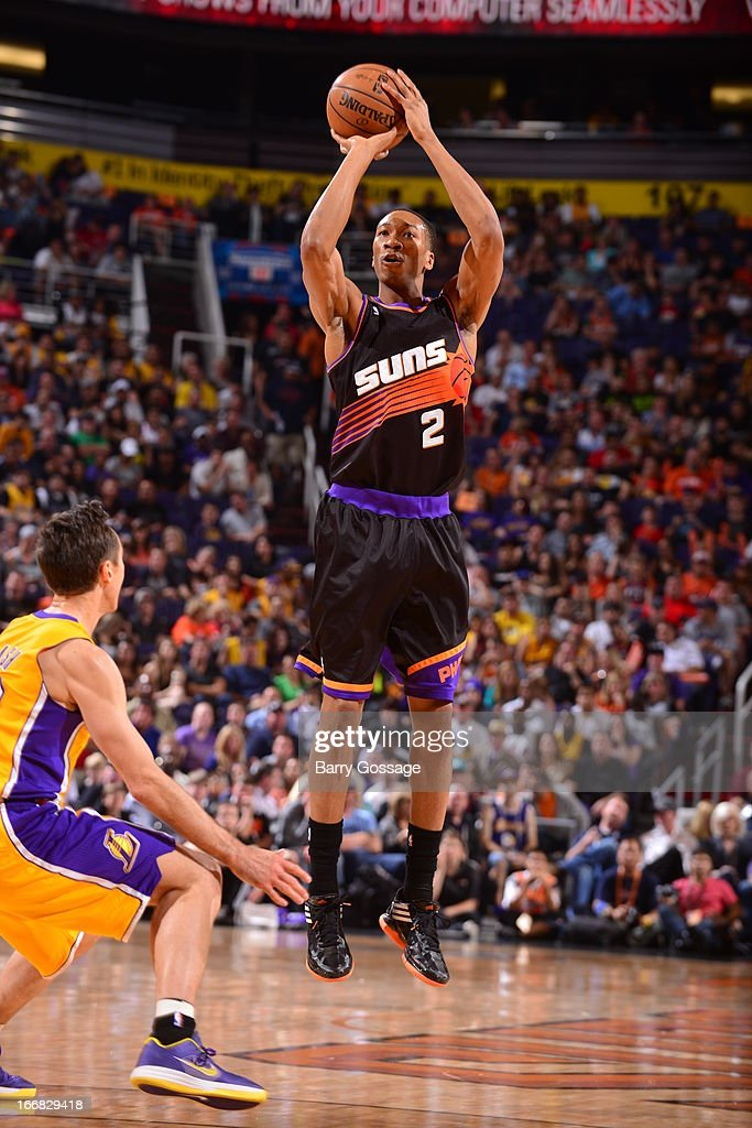 <a gi-track='captionPersonalityLinkClicked' href=/galleries/search?phrase=Wesley+Johnson+-+Basketball+Player&family=editorial&specificpeople=4184049 ng-click='$event.stopPropagation()'>Wesley Johnson</a> #2 of the Phoenix Suns shoots the ball against the Los Angeles Lakers on March 18, 2013 at U.S. Airways Center in Phoenix, Arizona.