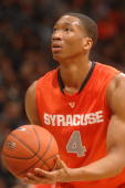 Wesley Johnson of the Syracuse Orange takes a foul shot during a college basketball game against the Georgetown Hoyas on February 18 2010 at the...