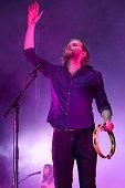 Wesley Keith Schultz of The Lumineers performs on stage at Jardines del Botanico in Madrid on June 27 2016 in Madrid Spain