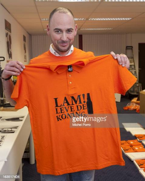 Wesley Koevoet of DPS Company wears a tshirt with a message for Crown Prince Willem Alexander of The Netherlands on March 11 2013 in Roosendaal...