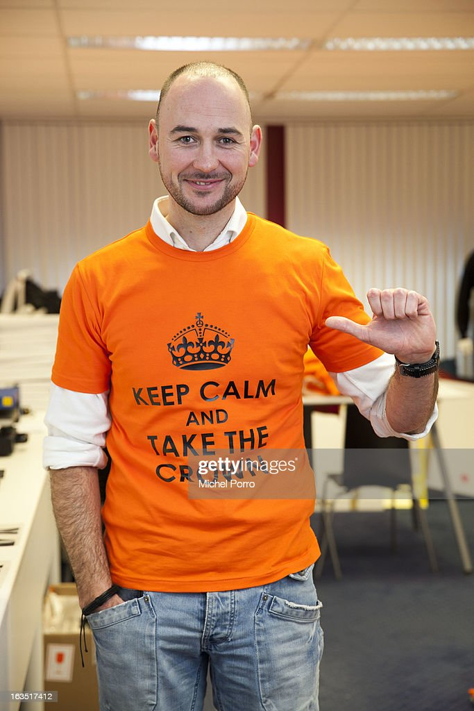 Wesley Koevoet of DPS Company wears a t-shirt with a message for Crown Prince Willem Alexander of The Netherlands on March 11, 2013 in Roosendaal, Netherlands.