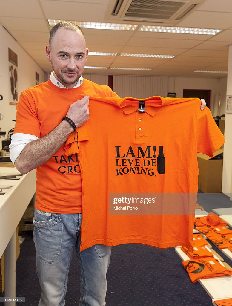 Wesley Koevoet prints a t-shirt designed by DPS Company on March 11, 2013 in Roosendaal, Netherlands. The shirts are for sale in preparation of the upcoming 30 April coronation of Prince Willem Alexander.