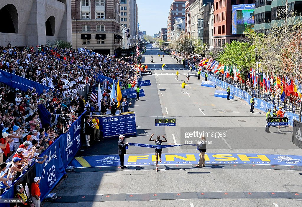 Wesley Korir of Kenya winner of the med 's division of the 116th Boston Marathon in Copley Square Boston MA on April 162012