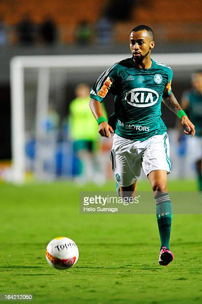 Wesley Lopes Beltrame of Palmeiras controls the ball during the match between Palmeiras and Botafogo as part of the Paulista Championship 2013 at...