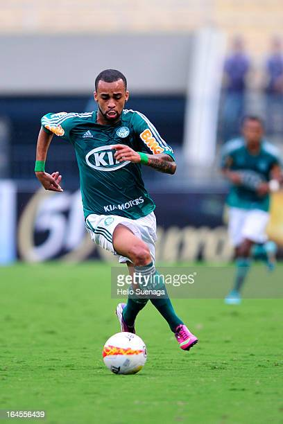 Wesley Lopes Beltrame of Palmeiras in action during a match between Palmeiras and Santos as part of Paulista Championship 2013 at Pacaembu Stadium on...