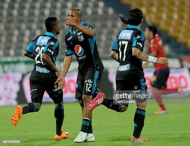 Wesley Lopes of Millonarios celebrates his goal and first of his team during a match between Medellin and Millonarios as part of the Liga Postobon...