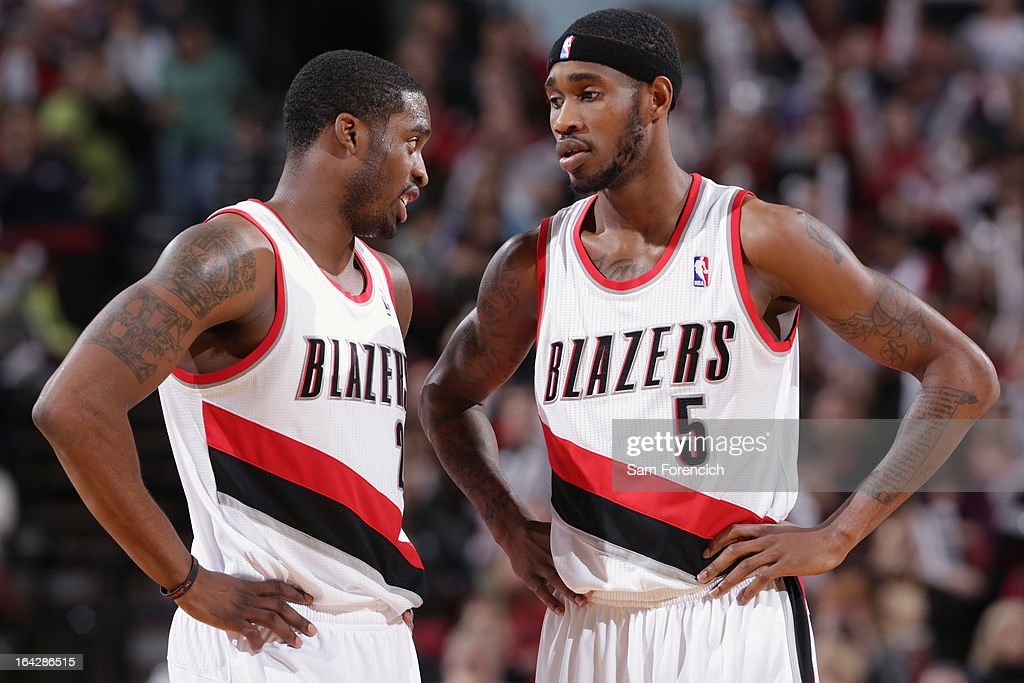 <a gi-track='captionPersonalityLinkClicked' href=/galleries/search?phrase=Wesley+Matthews&family=editorial&specificpeople=804816 ng-click='$event.stopPropagation()'>Wesley Matthews</a> #2 and <a gi-track='captionPersonalityLinkClicked' href=/galleries/search?phrase=Will+Barton&family=editorial&specificpeople=6894020 ng-click='$event.stopPropagation()'>Will Barton</a> #5 of the Portland Trail Blazers talk during the game against the Minnesota Timberwolves on March 2, 2013 at the Rose Garden Arena in Portland, Oregon.