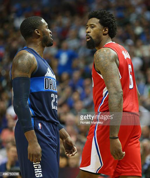 Wesley Matthews of the Dallas Mavericks and DeAndre Jordan of the Los Angeles Clippers in the second half at American Airlines Center on November 11...