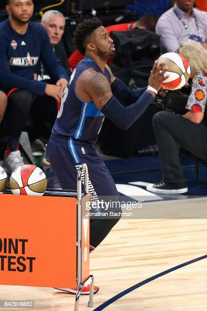 Wesley Matthews of the Dallas Mavericks competes in the 2017 JBL ThreePoint Contest at Smoothie King Center on February 18 2017 in New Orleans...