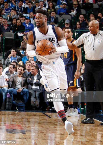 Wesley Matthews of the Dallas Mavericks drives to the basket against the Utah Jazz during the game on February 9 2017 at the American Airlines Center...