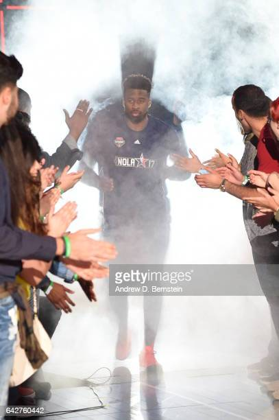 Wesley Matthews of the Dallas Mavericks gets introduced before the JBL ThreePoint Contest during State Farm AllStar Saturday Night as part of the...