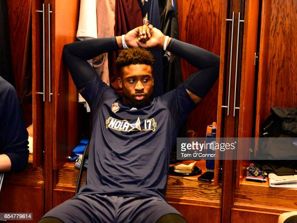 Wesley Matthews of the Dallas Mavericks gets ready before State Farm AllStar Saturday Night on February 18 2017 at the Smoothie King Center in New...