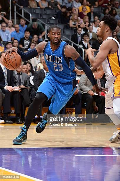 Wesley Matthews of the Dallas Mavericks handles the ball against the Los Angeles Lakers on November 1 2015 at STAPLES Center in Los Angeles...