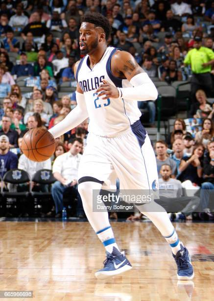Wesley Matthews of the Dallas Mavericks handles the ball against the San Antonio Spurs during the game on April 7 2017 at the American Airlines...