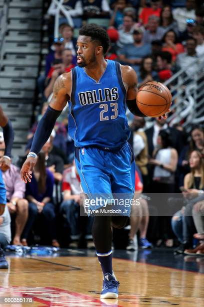 Wesley Matthews of the Dallas Mavericks handles the ball during the game against the New Orleans Pelicans on March 29 2017 at the Smoothie King...