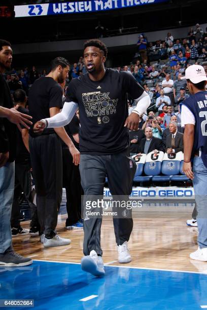 Wesley Matthews of the Dallas Mavericks is introduced before the game against the Miami Heat on February 27 2017 at the American Airlines Center in...