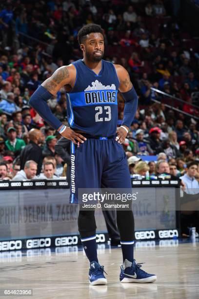 Wesley Matthews of the Dallas Mavericks looks on against the Philadelphia 76ers at Wells Fargo Center on March 17 2017 in Philadelphia Pennsylvania...