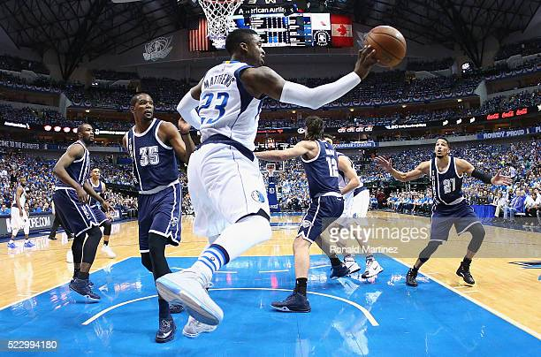 Wesley Matthews of the Dallas Mavericks passes the ball against the Oklahoma City Thunder during game three of the Western Conference Quarterfinals...