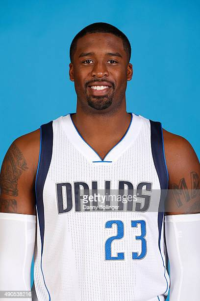 Wesley Matthews of the Dallas Mavericks poses for a head shot during Media Day on September 28 2015 at the American Airlines Center in Dallas Texas...