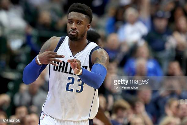 Wesley Matthews of the Dallas Mavericks reacts after scoring against the New Orleans Pelicans in the second half at American Airlines Center on...