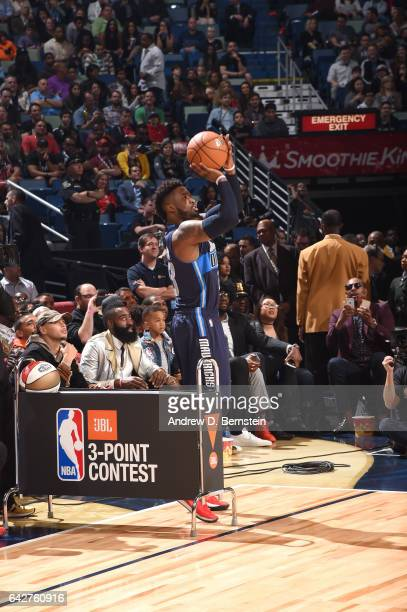Wesley Matthews of the Dallas Mavericks shoots a threepointer during the JBL ThreePoint Contest during State Farm AllStar Saturday Night as part of...