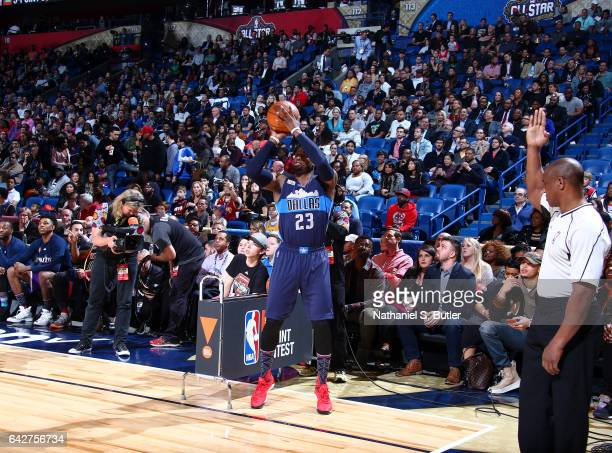 Wesley Matthews of the Dallas Mavericks shoots during the JBL ThreePoint Contest during State Farm AllStar Saturday Night as part of the 2017 NBA...