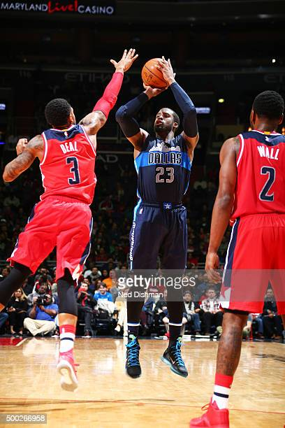 Wesley Matthews of the Dallas Mavericks shoots the ball against the Washington Wizards on December 6 2015 at Verizon Center in Washington DC NOTE TO...