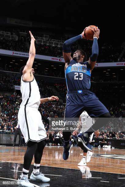 Wesley Matthews of the Dallas Mavericks shoots the ball against the Brooklyn Nets on March 19 2017 at Barclays Center in Brooklyn New York NOTE TO...