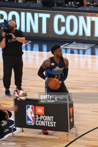 Wesley Matthews of the Dallas Mavericks shoots the ball during the JBL ThreePoint Contest during State Farm AllStar Saturday Night as part of the...