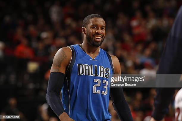 Wesley Matthews of the Dallas Mavericks smiles during the game against the Portland Trail Blazers on December 1 2015 at the Moda Center in Portland...