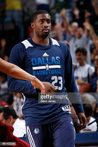 Wesley Matthews of the Dallas Mavericks walks on the court during the Dallas Mavericks 'Fan Jam' on October 4 2015 at the American Airlines Center in...