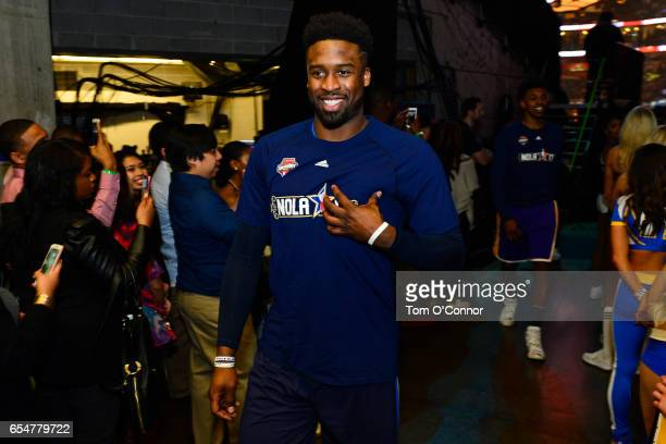Wesley Matthews of the Dallas Mavericks walks to the court before State Farm AllStar Saturday Night on February 18 2017 at the Smoothie King Center...