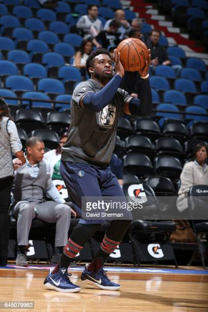 Wesley Matthews of the Dallas Mavericks warms up before a game against the Minnesota Timberwolves on February 24 2017 at the Target Center in...