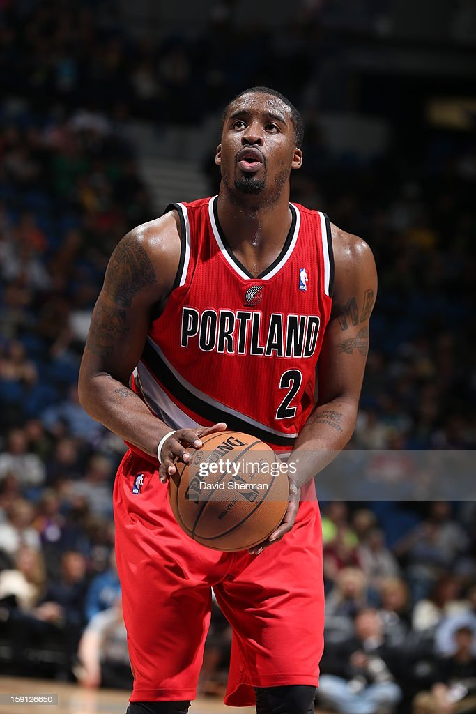 <a gi-track='captionPersonalityLinkClicked' href=/galleries/search?phrase=Wesley+Matthews&family=editorial&specificpeople=804816 ng-click='$event.stopPropagation()'>Wesley Matthews</a> #2 of the Portland Trail Blazers attempts a foul shot against the Minnesota Timberwolves on January 5, 2013 at Target Center in Minneapolis, Minnesota.
