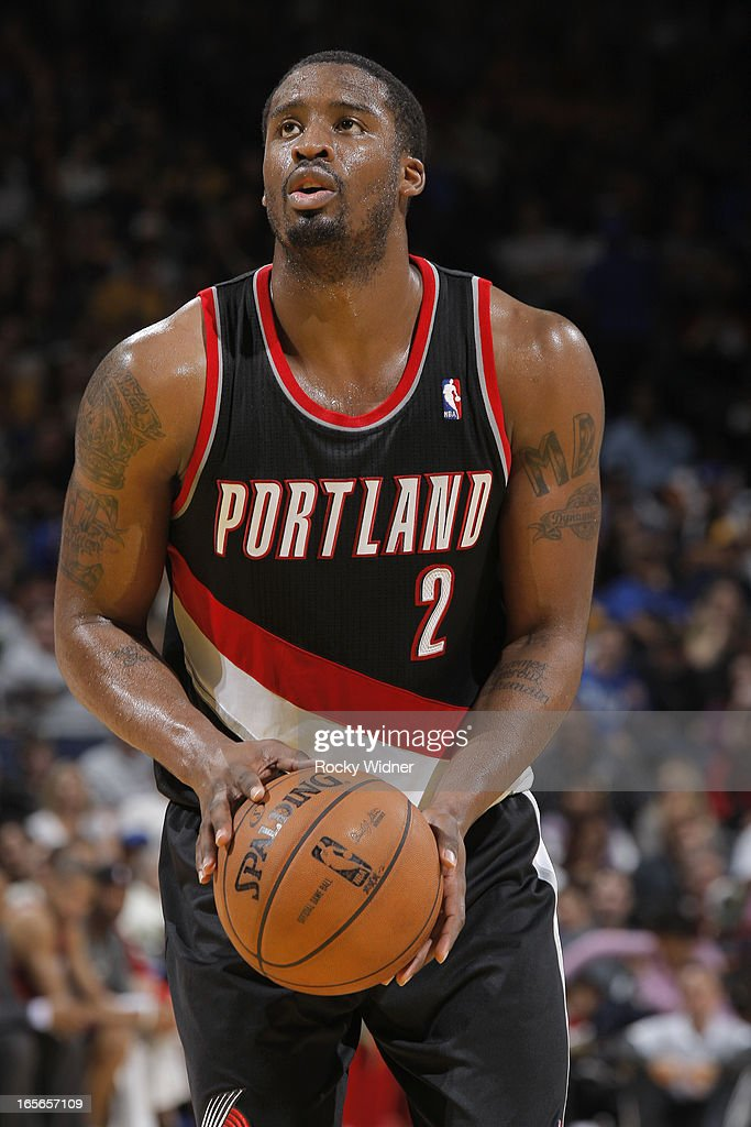 <a gi-track='captionPersonalityLinkClicked' href=/galleries/search?phrase=Wesley+Matthews&family=editorial&specificpeople=804816 ng-click='$event.stopPropagation()'>Wesley Matthews</a> #2 of the Portland Trail Blazers attempts a free throw shot against the Golden State Warriors on March 30, 2013 at Oracle Arena in Oakland, California.