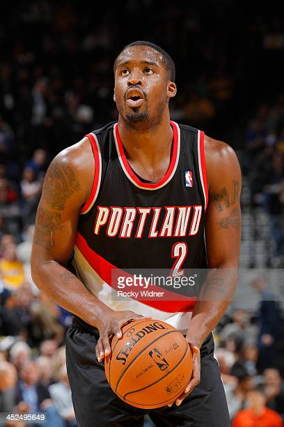 Wesley Matthews of the Portland Trail Blazers attempts a free throw shot against the Golden State Warriors on November 23 2013 at Oracle Arena in...