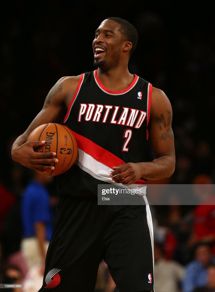 <a gi-track='captionPersonalityLinkClicked' href=/galleries/search?phrase=Wesley+Matthews+-+Basketball+Player&family=editorial&specificpeople=804816 ng-click='$event.stopPropagation()'>Wesley Matthews</a> #2 of the Portland Trail Blazers celebrates the win over the New York Knicks on January 1, 2013 at Madison Square Garden in New York City. The Portland Trail Blazers defeated the New York Knicks 105-100.