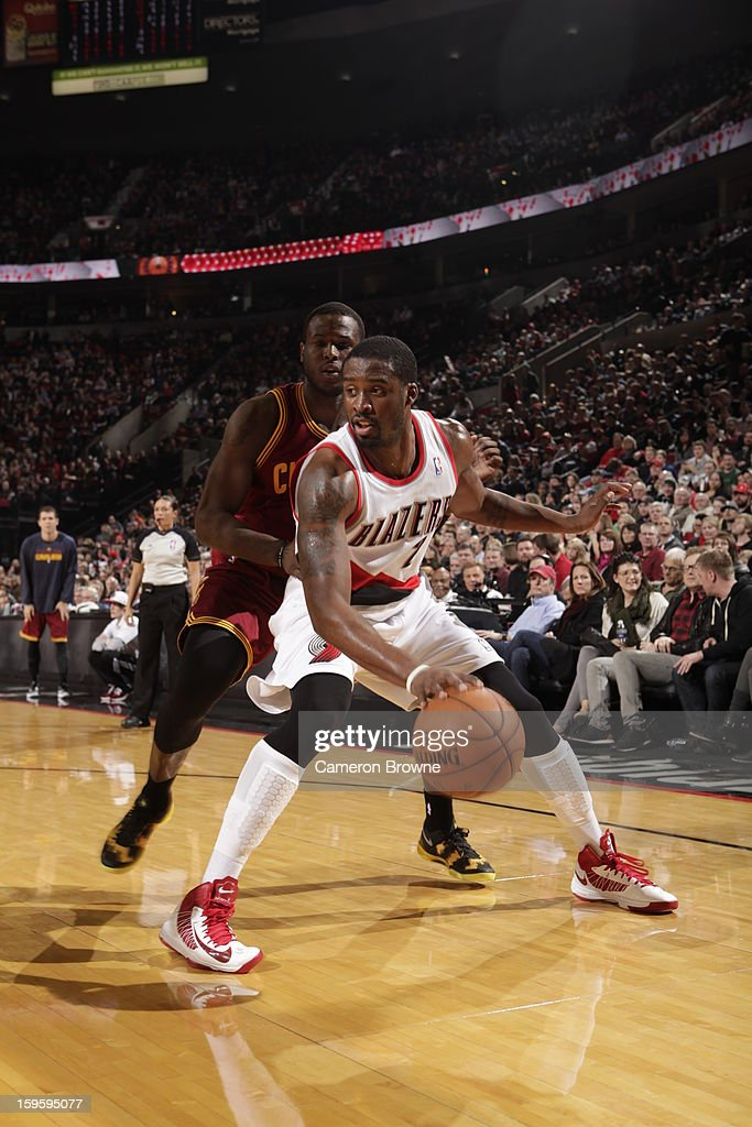 Wesley Matthews #2 of the Portland Trail Blazers controls the ball against Dion Waiters #3 of the Cleveland Cavaliers on January 16, 2013 at the Rose Garden Arena in Portland, Oregon.